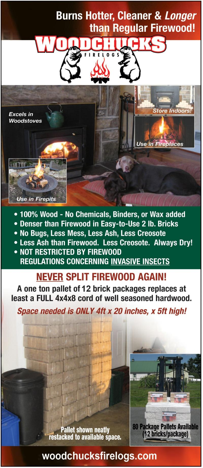 Woodchucks Firelogs Rack Card